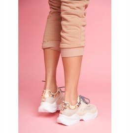 SEA Sportowe Damskie Buty Wężowe Beżowe Giselle beżowy 2