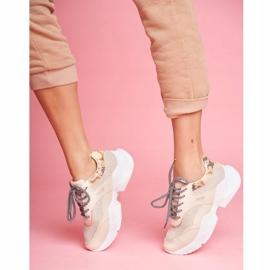 SEA Sportowe Damskie Buty Wężowe Beżowe Giselle beżowy 1