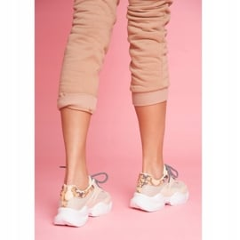 SEA Sportowe Damskie Buty Wężowe Beżowe Giselle beżowy 3