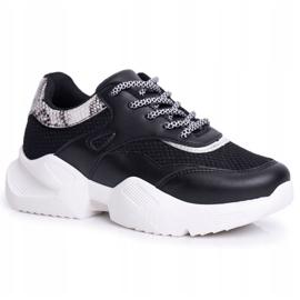 SEA Sportowe Damskie Buty Wężowe Czarne Giselle 6