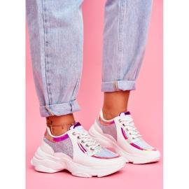 BUGO Sportowe Damskie Buty Brokatowe Białe Vebi 2