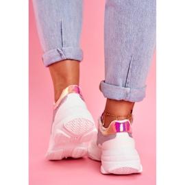 BUGO Sportowe Damskie Buty Brokatowe Białe Vebi 4
