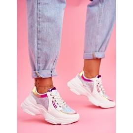 BUGO Sportowe Damskie Buty Brokatowe Białe Vebi 1