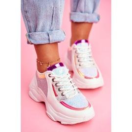 BUGO Sportowe Damskie Buty Brokatowe Białe Vebi 5