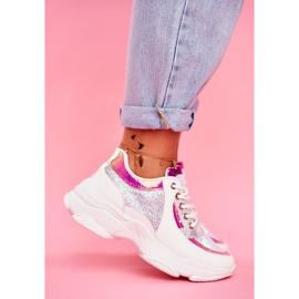 BUGO Sportowe Damskie Buty Brokatowe Białe Vebi 3
