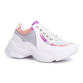 BUGO Sportowe Damskie Buty Brokatowe Białe Vebi 6