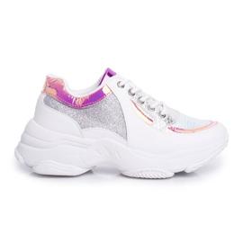 BUGO Sportowe Damskie Buty Brokatowe Białe Vebi 7