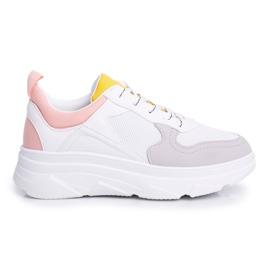 BUGO Sportowe Damskie Buty Różowo Białe Fresno 7