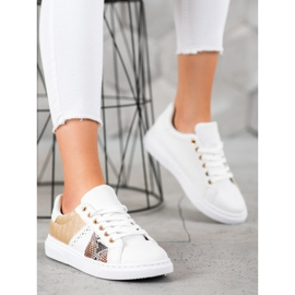 SHELOVET Wygodne Białe Sneakersy żółte 2