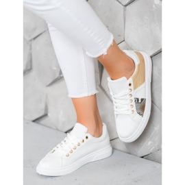 SHELOVET Wygodne Białe Sneakersy żółte 1