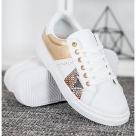 SHELOVET Wygodne Białe Sneakersy żółte 3