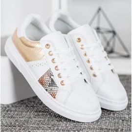 SHELOVET Wygodne Białe Sneakersy żółte 4