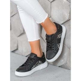 SHELOVET Modne Sneakersy Na Platformie czarne 1