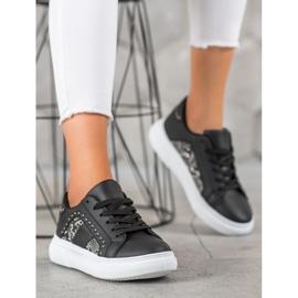 SHELOVET Modne Sneakersy Na Platformie czarne 4
