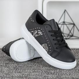 SHELOVET Modne Sneakersy Na Platformie czarne 2