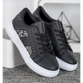 SHELOVET Modne Sneakersy Na Platformie czarne 3