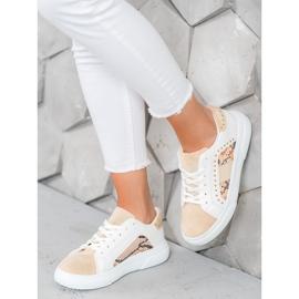 SHELOVET Modne Sneakersy Na Platformie białe brązowe 4