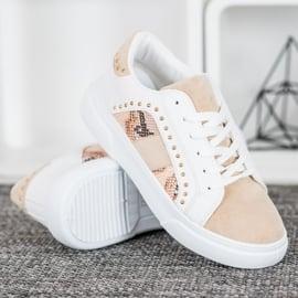 SHELOVET Modne Sneakersy Na Platformie białe brązowe 2
