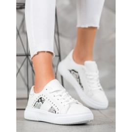 SHELOVET Modne Sneakersy Na Platformie białe 4
