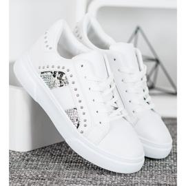 SHELOVET Modne Sneakersy Na Platformie białe 1