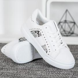 SHELOVET Modne Sneakersy Na Platformie białe 2
