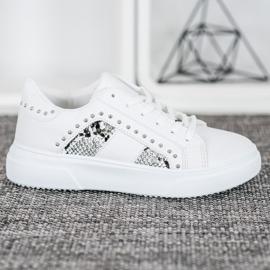 SHELOVET Modne Sneakersy Na Platformie białe 3