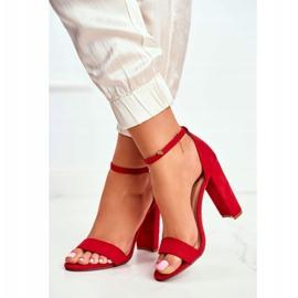 FW1 Sandały Damskie Na Słupku Zamszowe Czerwone Anastasie 4