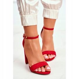 FW1 Sandały Damskie Na Słupku Zamszowe Czerwone Anastasie 2