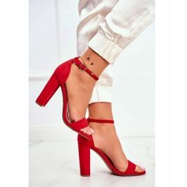 FW1 Sandały Damskie Na Słupku Zamszowe Czerwone Anastasie 1