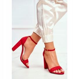 FW1 Sandały Damskie Na Słupku Zamszowe Czerwone Anastasie 5