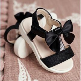 FRROCK Dziecięce Sandałki Na Rzepy Dla Dziewczynki Czarne Bella 2