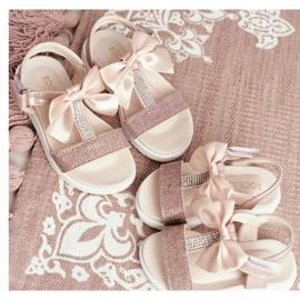 FRROCK Dziecięce Sandałki Na Rzepy Dla Dziewczynki Champagne Bella różowe żółte 4