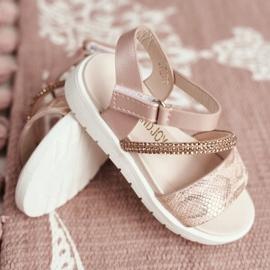 FRROCK Dziecięce Sandałki Na Rzepy Dla Dziewczynki Różowe Lilo 3
