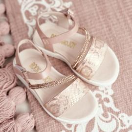 FRROCK Dziecięce Sandałki Na Rzepy Dla Dziewczynki Różowe Lilo 5