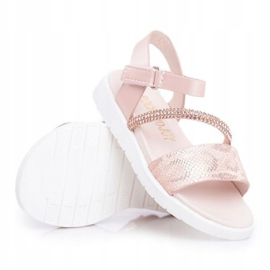 FRROCK Dziecięce Sandałki Na Rzepy Dla Dziewczynki Różowe Lilo 4