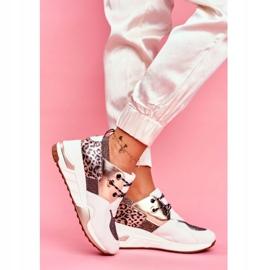 Moow Sportowe Damskie Buty Sneakersy Biało Złote Sempre białe wielokolorowe żółte 2