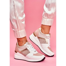 Moow Sportowe Damskie Buty Sneakersy Biało Różowe Dillion białe wielokolorowe żółte 1