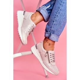 Vinceza Sportowe Damskie Buty Sneakersy Skórzane Beżowe FT20-8675 Better Way beżowy 2
