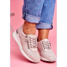 Vinceza Sportowe Damskie Buty Sneakersy Skórzane Beżowe FT20-8675 Better Way beżowy 4