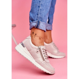Vinceza Sportowe Damskie Buty Sneakersy Skórzane Beżowe FT20-8675 Better Way beżowy 3