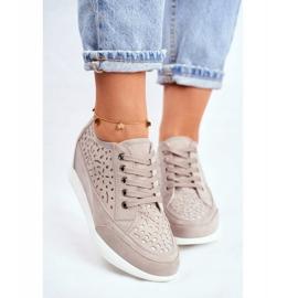 Sneakersy Damskie Sergio Leone Ażurowe Szare PB122 2