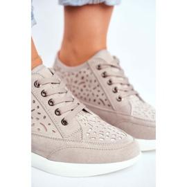 Sneakersy Damskie Sergio Leone Ażurowe Szare PB122 4