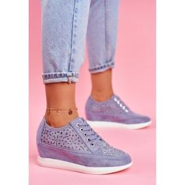 Sneakersy Damskie Sergio Leone Ażurowe Niebieskie PB122 3