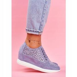 Sneakersy Damskie Sergio Leone Ażurowe Niebieskie PB122 1