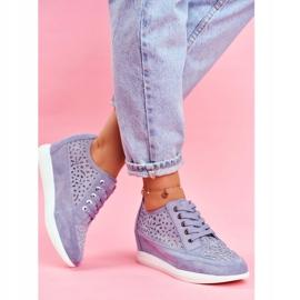 Sneakersy Damskie Sergio Leone Ażurowe Niebieskie PB122 2