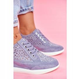 Sneakersy Damskie Sergio Leone Ażurowe Niebieskie PB122 4