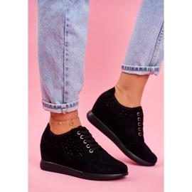 Sneakersy Damskie Sergio Leone Ażurowe Czarne PB122 2