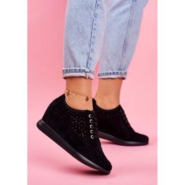 Sneakersy Damskie Sergio Leone Ażurowe Czarne PB122 1