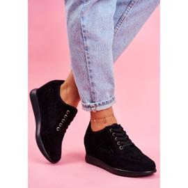 Sneakersy Damskie Sergio Leone Ażurowe Czarne PB122 4