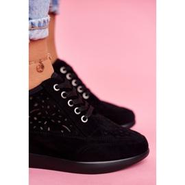 Sneakersy Damskie Sergio Leone Ażurowe Czarne PB122 5